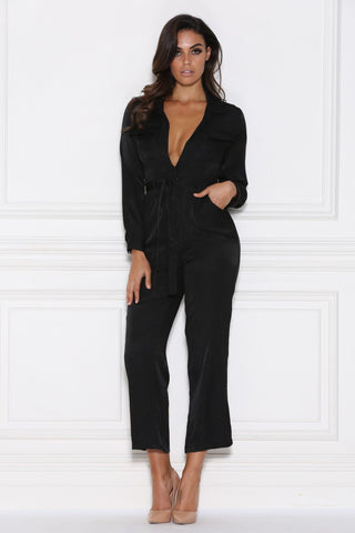 Hilary Satin Jumpsuit - Black