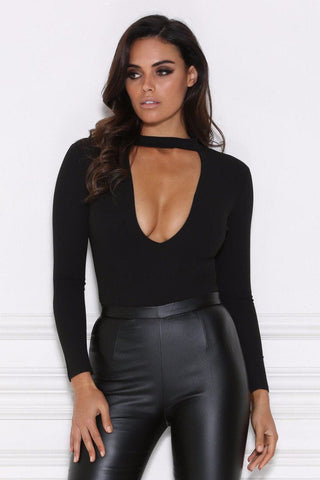 Kailee Long Sleeve Choker Bodysuit - Black