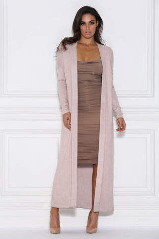 Blair Faux Suede Coat - Dusty Pink