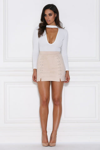Chloe Suede Mini Skirt - Nude