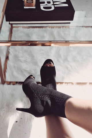 Fame Knitted Open Toe Ankle Boot - Black Knit