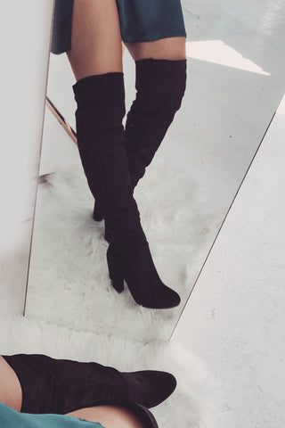 Lara Thigh High Boots - Black Suede