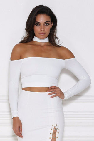 Vanna Long Sleeve Choker Crop Top - White