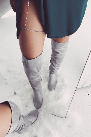 Lara Thigh High Boots - Slate Grey Suede