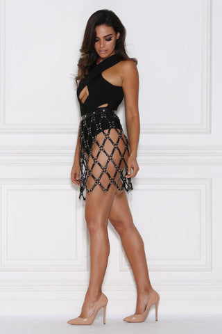 Demelza Cage Mini Skirt - Black