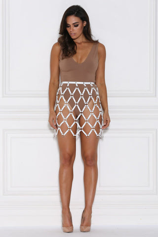 Demelza Cage Mini Skirt - White - MESHKI