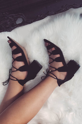 Tamilla Lace Up Low Block Heel - Black Suede