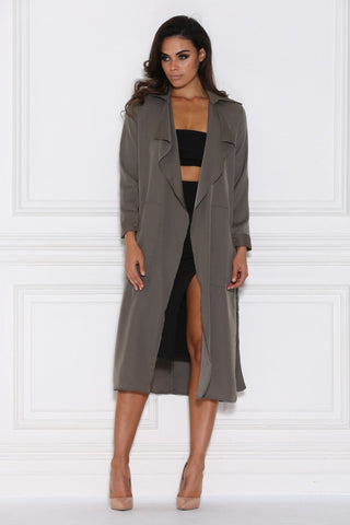 Dulce Duster Trench Coat - Khaki