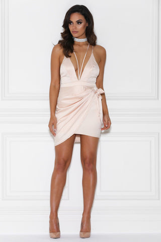 Melissa Satin Wrap Mini Dress - Nude
