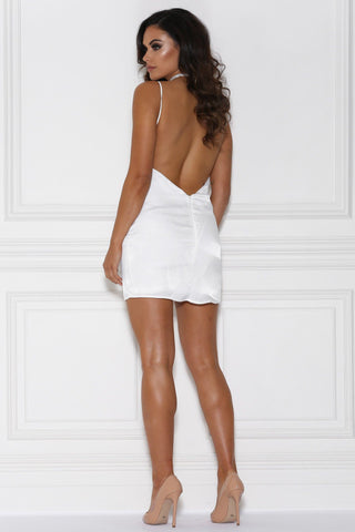 Fira Satin Mini Dress - White