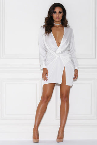 Adara Mini Satin Dress - White