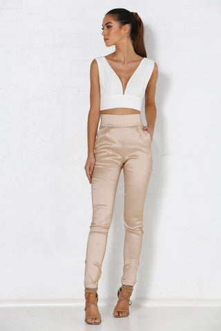 Nikki High Waisted Pants - Nude Satin - MESHKI