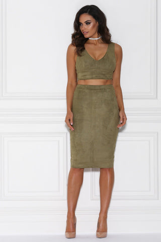 Lydia Suede Two Piece Set - Khaki
