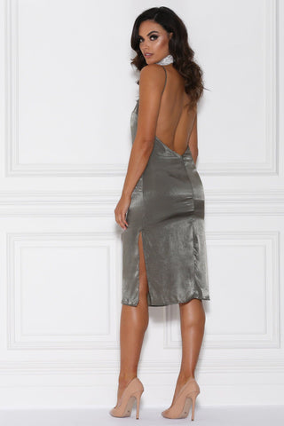 Catarina Satin Midi Dress - Khaki