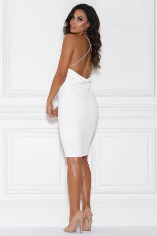 Jasina Halter Midi Dress - White