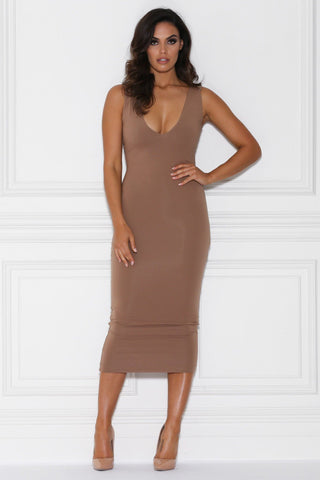 Nilda Bodycon Midi Dress - Mocha