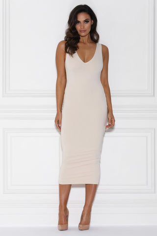 Nilda Bodycon Midi Dress - Stone