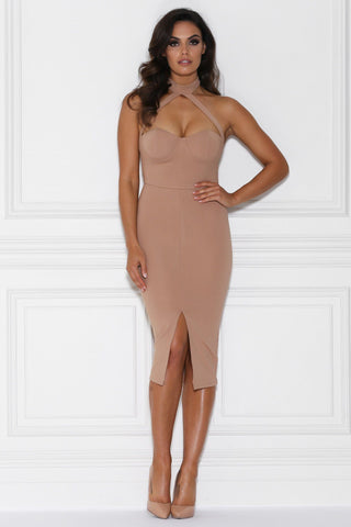 Dani Collar Bustier Midi Dress - Nude