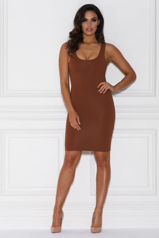 Sia Bodycon Midi Dress - Terracotta