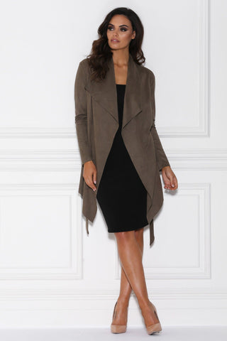 Lula Suede Waterfall Coat - Khaki
