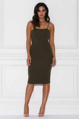Kori Bodycon Midi Dress - Khaki
