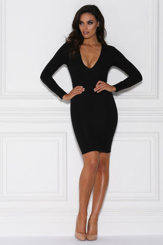 Elycia Long Sleeve Bodycon Mini Dress - Black