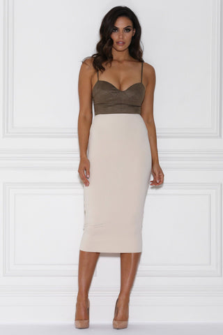 Katja High Waisted Pencil Midi Skirt - Stone