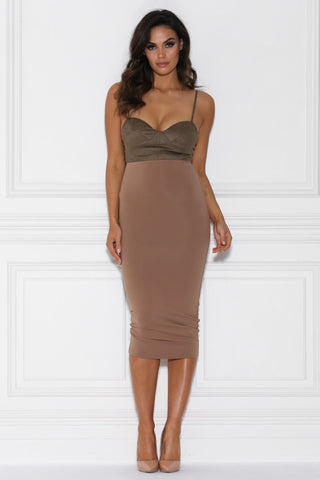Katja High Waisted Pencil Midi Skirt - Mocha