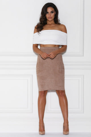 Lulia High Waised Suede Midi Skirt - Mocha