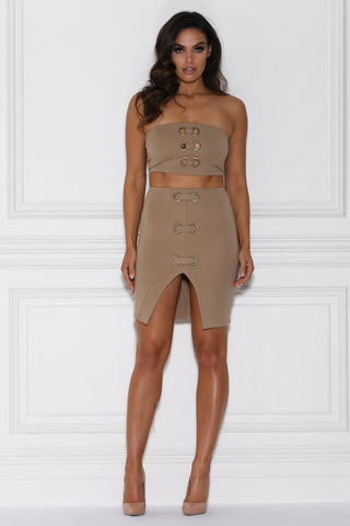 Durrani Metallic Loop Mini Skirt - Camel