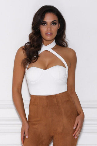 Julita Collar Bustier Bodysuit - White