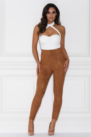 Peyton High Waisted Suede Pants - Camel