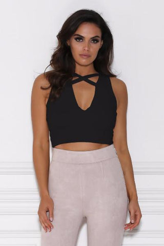 Lucya Criss Cross Crop Top - Black