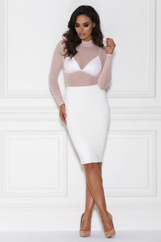 Kamaria High Waisted Pencil Midi Skirt - White