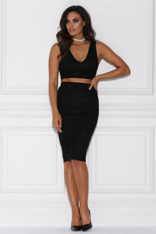 Lydia Suede Two Piece Set - Black