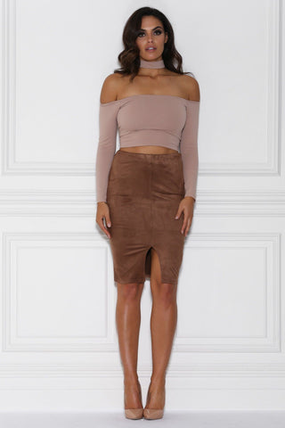 Laurette High Waisted Suede Midi Skirt - Camel