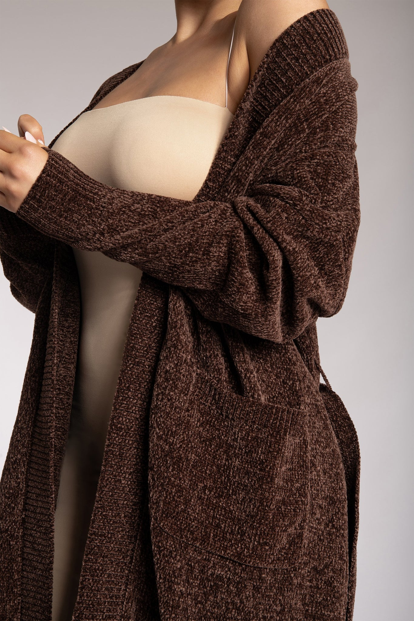 Delta Long Chenille Cardigan - Chocolate - MESHKI