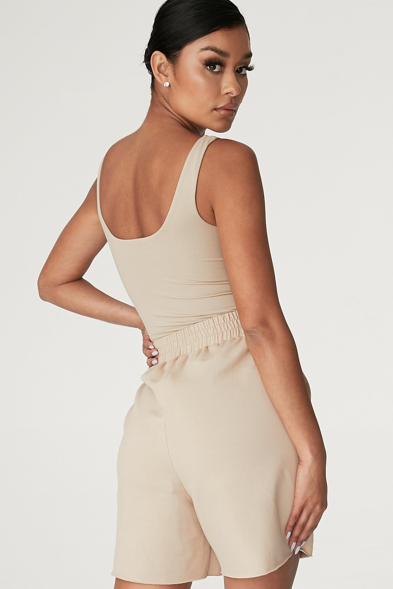 Jaelyn Thick Strap Scoop Neck Bodysuit - Almond - MESHKI