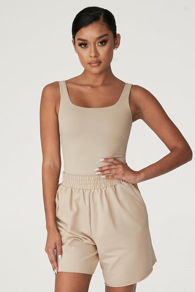 Jaelyn Thick Strap Scoop Neck Bodysuit - Almond