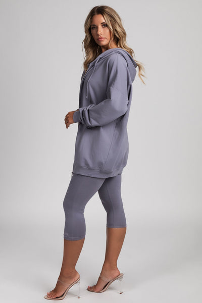Malee Zip Through Long Hoodie Top - Grey - MESHKI