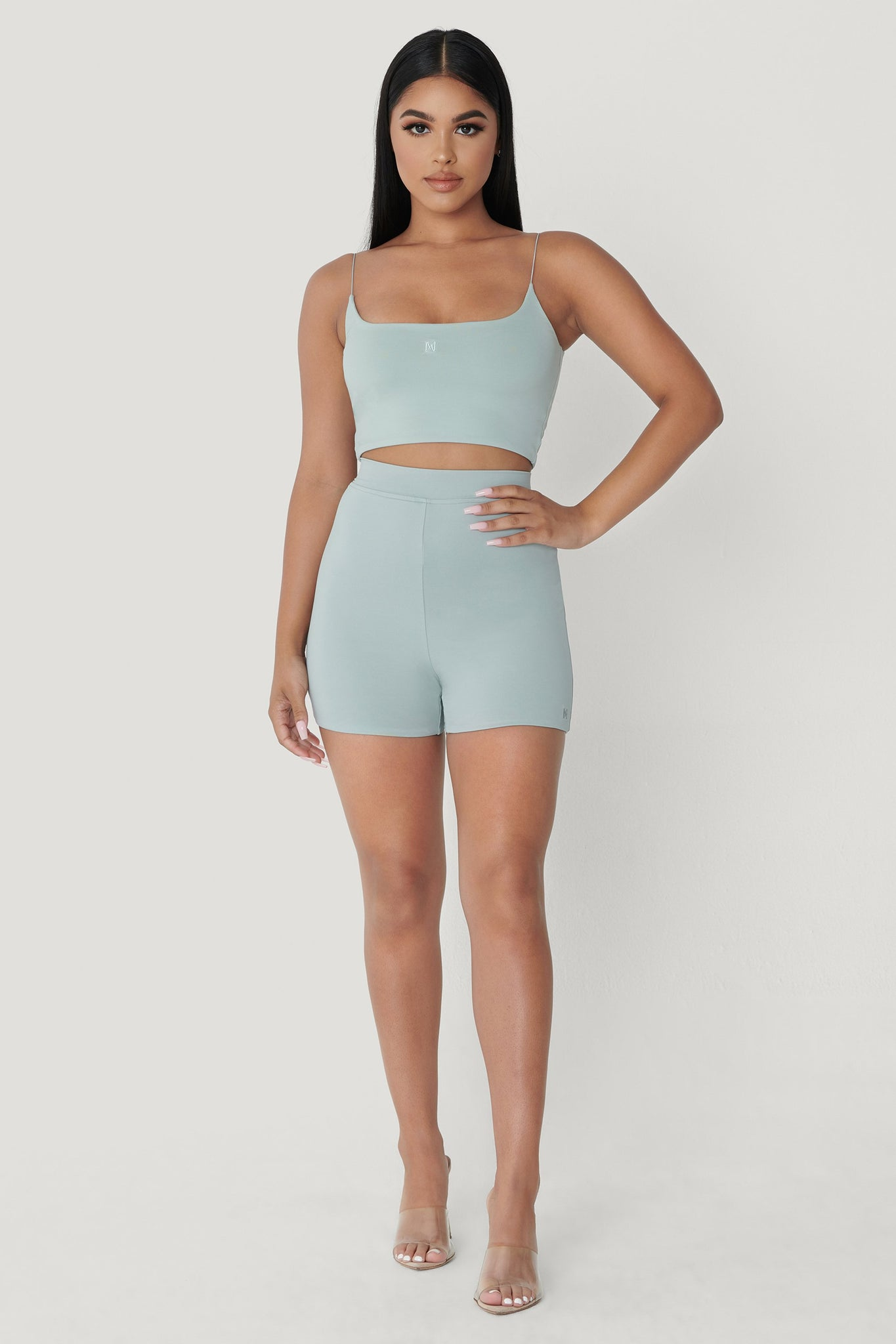 Kaiya Thin Strap Scoop Neck Crop Top - Storm - MESHKI