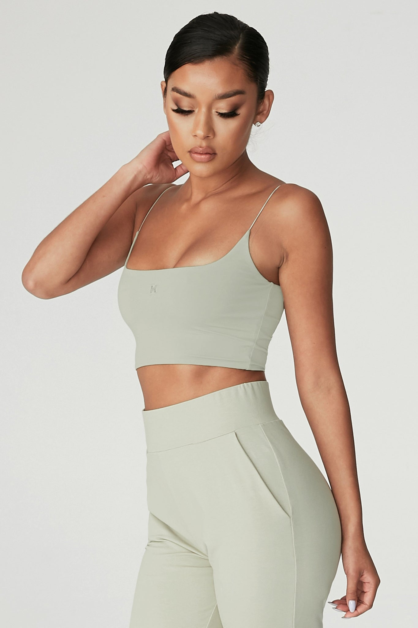 Kaiya Thin Strap Scoop Neck Crop Top - Olive - MESHKI