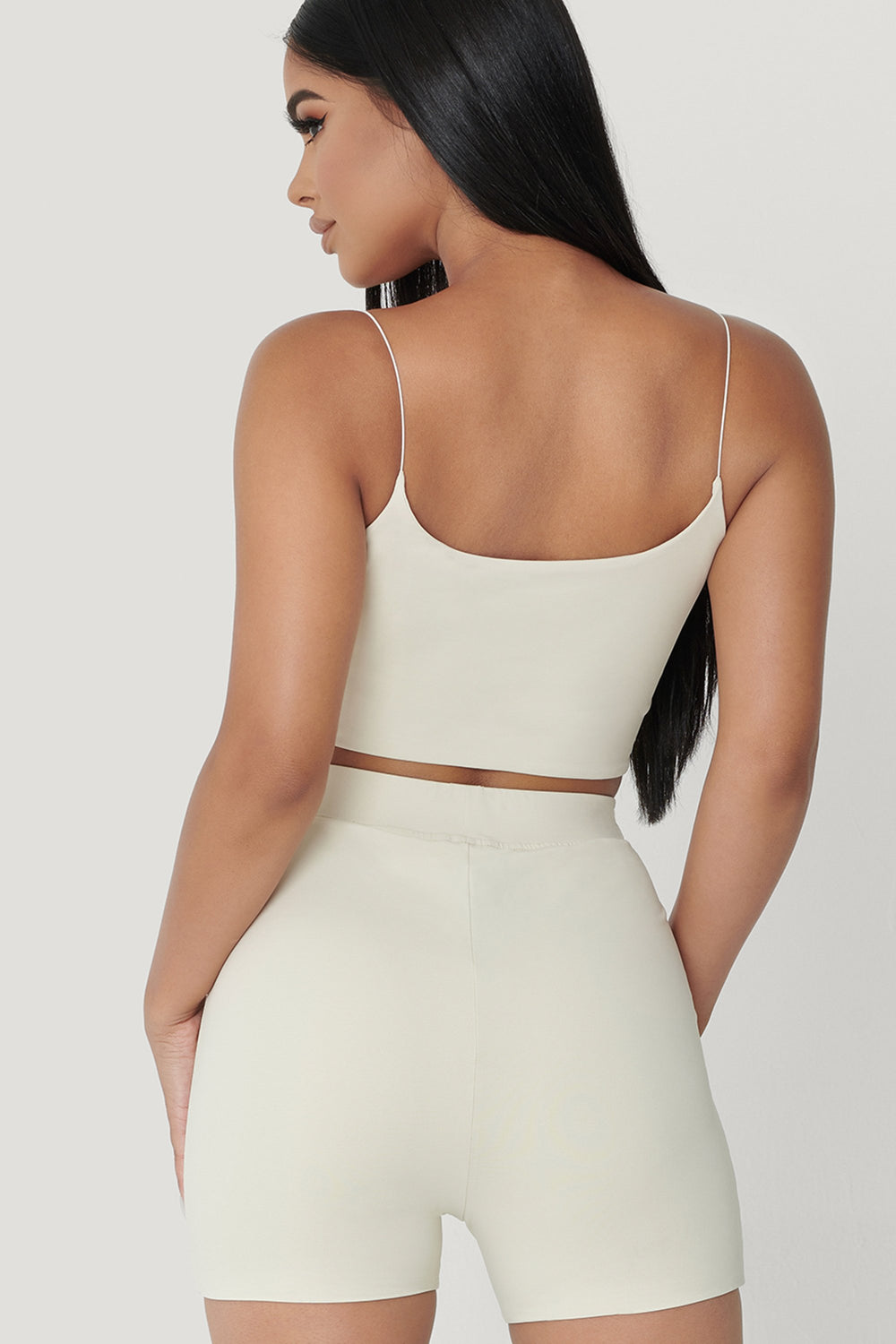 Kaiya Thin Strap Scoop Neck Crop Top - Sand - MESHKI