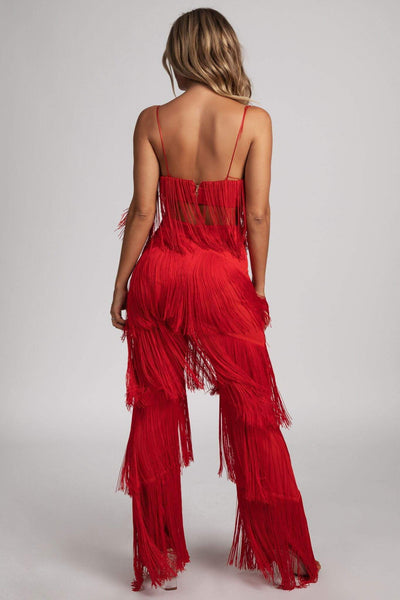 Amira Fringe Pants - Red - MESHKI
