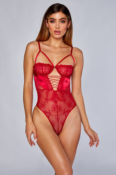 Kalani Lace Up Cross Bodice Bodysuit - Red - MESHKI