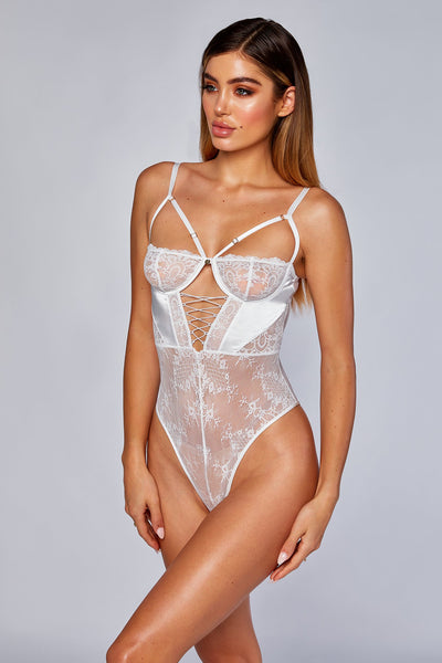 Kalani Lace Up Cross Bodice Bodysuit - Ivory - MESHKI