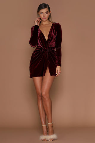 Kiara Wrapped Velvet Mini Dress - Burgundy - MESHKI