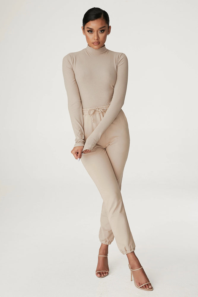 Lexie Long Sleeve Bodysuit - Almond - MESHKI