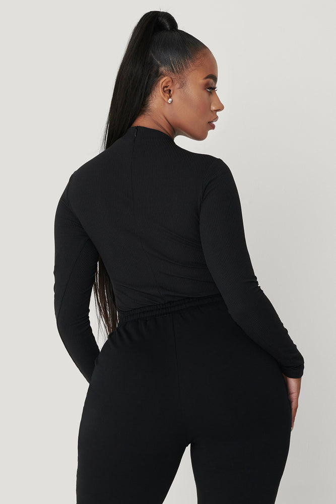 Lexie Long Sleeve Bodysuit - Black - MESHKI