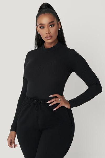 Lexie Long Sleeve Bodysuit - Black